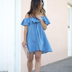 NWT as u wish Blue Off The Shoulder Ruffle Dress